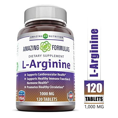 Amazing Formulas L-Arginine 1000mg Supplement – Best Amino Acid Arginine HCL Supplements for Women & Man – Promotes Circulation and Supports Cardiovascular Health – 120 Tablets