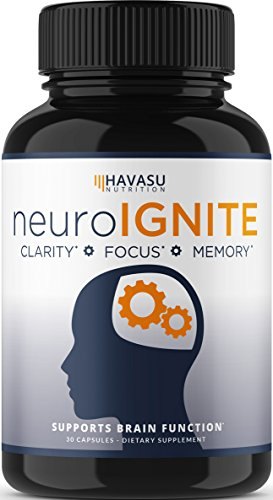 Havasu Nutrition Extra Strength Brain Supplement for Focus, Energy, Memory & Clarity – Mental Performance Nootropic with St Johns Wort – Supports Brain Function for Men & Women – 30 Capsules