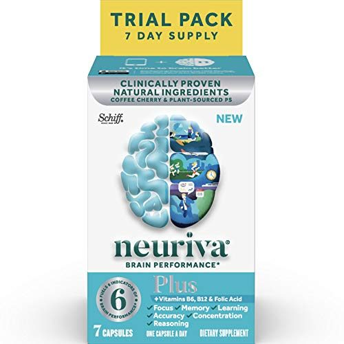 NEURIVA Plus Brain Performance, Brain Support Supplement with Clinically Proven Natural Ingredients 1 ea