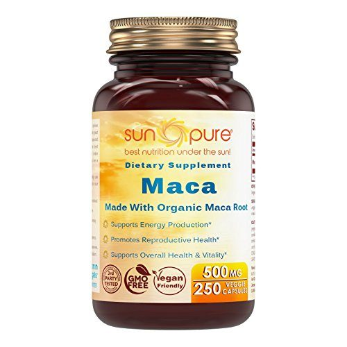 Sun Pure Premium Quality Organic Maca 500 Mg Veggie Capsules Glass Bottle 250 Count Per Bottle -Supports Mood & Hormonal Balance – Promotes Reproductive Health – Supports Women Health