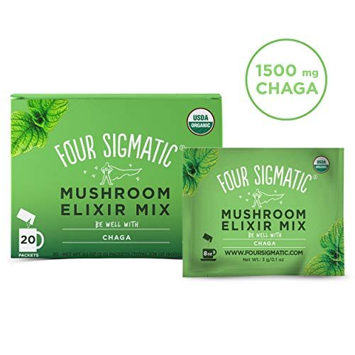 Four Sigmatic Lion's Mane Mushroom Elixir – USDA Organic Lions Mane Mushroom Powder – Memory, Focus, Creativity – Vegan, Paleo – 20 Count