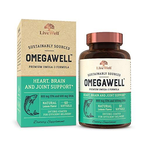 OmegaWell Fish Oil: Heart, Brain, and Joint Support | 800 mg EPA 600 mg DHA – Natural Lemon Flavor, Enteric-Coated, Sustainably Sourced – Easy to Swallow