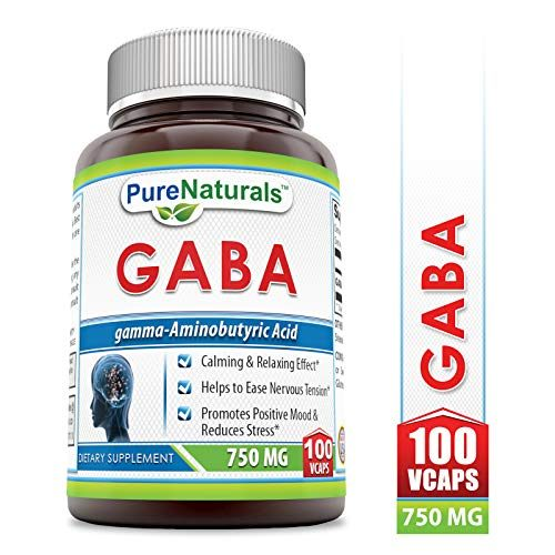 Pure Naturals GABA 750 Mg, Veggie Capsules -Promotes Positive Mood & Reduces Stress* -Helps to Ease Nervous Tension* -Calming & Relaxing Effect*