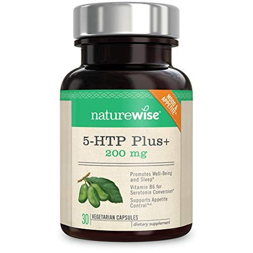 NatureWise 5-HTP Max Potency 200mg | Mood Support, Natural Sleep Aid & Helps Curb Appetite | Delayed Release Capsules Easier on The Stomach | Enhanced with Vitamin B6 | Non-GMO, Vegetarian