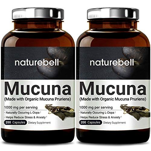 2 Pack NatureBell Mucuna 1000mg Per Serving, 200 Capsules, Contains Premium Mucuna Pruriens Seeds for Mood Mind and Brain Health, No GMOs, Made in USA